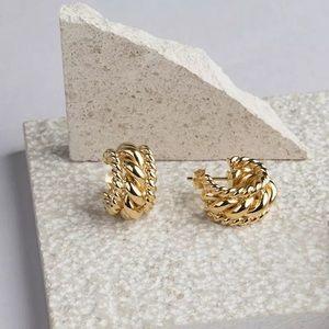18k Wide Gold Twisted Hoop Earrings